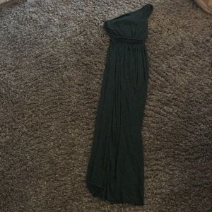 Rachel Pally Hunter Green Maxi Dress One-Shoulder